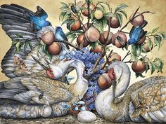 'The Sweet Song of Summer' 2015, ballpoint pen, ink, ink pencils, colored pencil, graphite, and gel pen on hot-pressed watercolor paper, 24 x 18 ¼ inches
