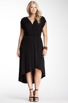 Loveappella Hi-Lo Wrap Maxi Dress - Plus Size - www.myseattlestylist.com