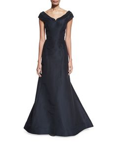 Cap-Sleeve+Notched-Neck+Gown,+Navy+by+Zac+Posen+at+Neiman+Marcus.