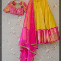 Premium Yellow-pink colored lehenga at your budget Half Saree Lehenga, Lehenga Gown, Lehnga Dress, Lehenga Blouse, Anarkali, Half Saree Designs, Choli Designs, Lehenga Designs, Dress Shorts Outfit