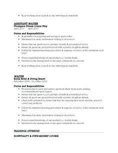 cruise ship bartender sample resume Cv For A Waiter - Resume Templates Resume Profile Examples, Resume Objective Examples, Resume Software, Resume Templates, Free Printable Resume, Resume Format For Freshers, Server Resume, Resume No Experience, Sample Resume Format