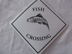 Big Fish Tale Caution Sign Fish Crossing Gift for the Fisherman   ReVintageLannie.Etsy.com