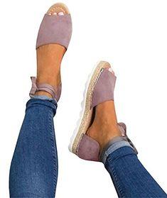 23a46deeeb0f Minetom Sandales Femmes Sandales Plat Solide Femme Chaussures Poissons  Bouche Sandale Randonnee Fermé Ado Fille Sandales