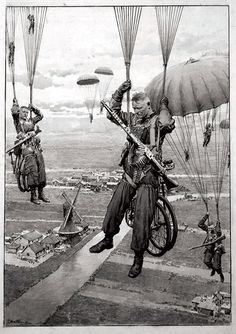 German Paratroops enter Holland 1940 (Original) (Signed) art by Fortunino Matania