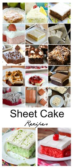 Sheet Cake is usually baked in a cookie sheet. Sheet Cakes Recipes are the perfect quick and simple dessert for large crowds. There are all kinds of parties and celebrations throughout the year so, having a collection of sheet cake recipes on hand is sure to save time and energy. I think we can all get on board with that.