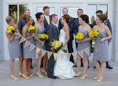 Love Is Sweet Grey & Yellow Wedding Burlap Banner by nhayesdesigns, $34.00