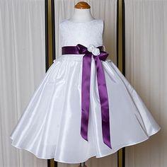 Girls Embroidered Taffeta Dress
