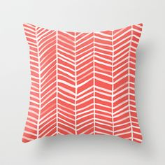 Coral Herringbone Throw Pillow by Cat Coquillette - Cover x with pillow insert - Indoor Pillow Coral Throw Pillows, Throw Pillow Covers, Throw Blankets, Cushion Covers, Decorate Your Room, Color Of The Year, My New Room, Down Pillows, Decorative Pillows