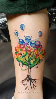 The Tree of Joy. Instead of leaves, this tree tattoo incorporates the balloons, that represents the happiness and joy. Fulfill your life with happiness and joy with this creative tree tattoo.