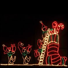 Animated Elf and Stocking Outdoor Christmas Decoration with Rope Lights