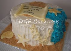 Red Velvet and cream cheese cake decorate with fondant beach theme decoration.
