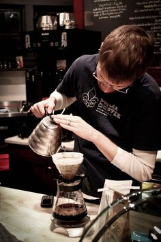 Pour-over brewing with the Hario Buono Kettle and Hario V60 at one of our Barista Bashes