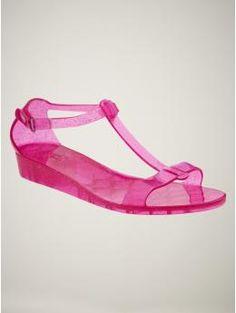 Ultra Deep Pink Gap Jelly Wedge Sandals