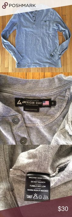 American Giant Henley American Giant (maker of America's best hoodie) put out this single pocket Henley a couple of years ago. It's a substantial fabric, so it's thick and perfect for layering. Only worn a handful of times. Made in the USA. Make me an offer. Discount on bundles of two or more. American Giant Shirts Tees - Long Sleeve