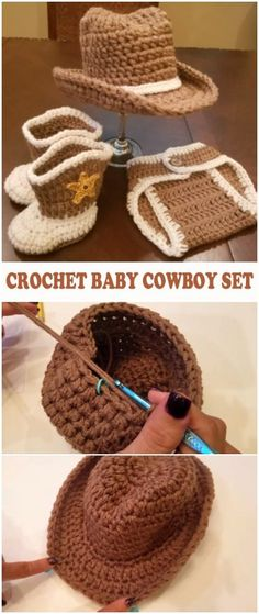 Crochet Baby Cowboy Set – Free Pattern [Video] – Baby For look here Baby Cowboy Hat, Crochet Cowboy Hats, Crochet Baby Mittens, Crochet Baby Shoes, Crochet For Boys, Crochet Baby Clothes Boy, Hat Crochet, Crochet Outfits, Crochet Baby Hats Free Pattern