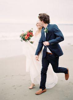 colorful beach wedding couple portraits