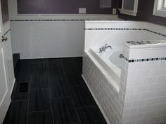 This bath features white subway tile on the walls and tub surround with colored glass mosaic accents for that pop of color. Description from kolbyconstructionbathroomremodeling.wordpress.com. I searched for this on bing.com/images