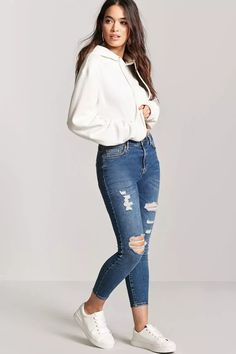 Product Name:Distressed High-Waist Skinny Jeans, Category:bottom_jeans, Price:32.9