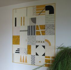 Modern Quilt, Art Quilt, Lap Quilt, Black, White and Mustard, Abstract Quilt by CentralFabrications on Etsy https://www.etsy.com/listing/226975251/modern-quilt-art-quilt-lap-quilt-black