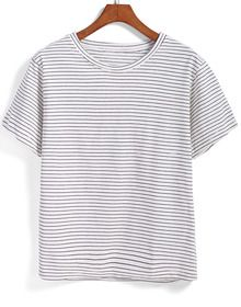 Black White Short Sleeve Striped T-Shirt
