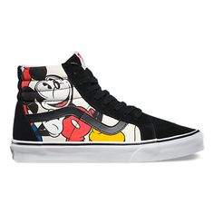 Vans and Disney come together for a magical collaboration that reimagines some of the most beloved and iconic animated characters. Dedicated to those who are young at heart, the Mickey and Friends Disney Sk8-Hi Reissue combines the legendary Vans high top with a custom collage of Disney's original cast of friends: Mickey, Donald, Goofy, and Pluto. The Disney Sk8-Hi Reissue also features sturdy canvas and suede uppers, re-enforced toecaps to withstand repeated wear, signature waffle rubbe...