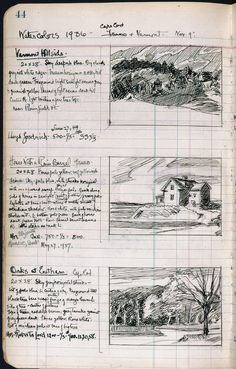 sketchbook / sketch | Josephine Hopper's handwriting is seen in Edward Hopper's sketchbook. Both of their handwriing and sketches are part of the P22 Hopper font set