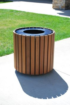 Walden Trash Receptacle by Thomas Steele w/ Ipe Boards  #thomassteele #sitefurniture #sitefurnishings  #landscapearchitecture #exteriordesign #landscapedesign #exteriorfurniture #commercialfurniture #trashreceptacle #trashcan #trashbin