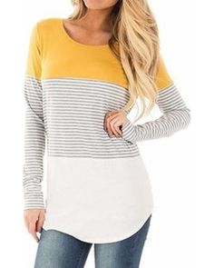 4d491c33c7f0 Lelinta LELINTA Women's Casual Color Block Striped T-Shirt Long Sleeve  Tunic Tops Blouses with Hem Yellow Plus Size S-2XL from Walmart | People