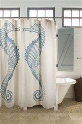 Shower Curtain Fabric Nautical Blue & White Unique Cool Shower Curtains Seahorse for sale online Beach Cottage Style, Beach Cottage Decor, Coastal Style, Coastal Decor, Coastal Living, Cottage Ideas, Cottage Bath, Coastal Curtains, House Bath