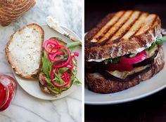 Roasted Eggplant, Pickled Red Onion and Boursin Sandwiches | athoughtforfood.net