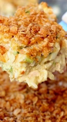 Chicken Casserole... cooked chicken, fresh diced celery, can of cream of chicken soup, mayo, almonds, rice, etc.  What's not to love!