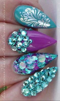 nice Blue purple rhinestone nails...