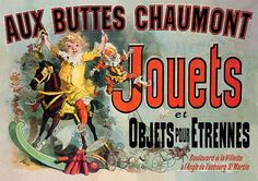 """Vintage French Advertising Poster Aux Buttes Chaumont Jouets Jules Cheret (as seen on """"Friends"""" TV show)"""