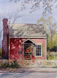 Love how the artist captured the shadows! ۩۩ Painting the Town ۩۩ city, town, village & house art - Marilyn Foley Watercolor Pictures, Watercolor Cards, Watercolor Paintings, Watercolours, Watercolor Architecture, Watercolor Landscape, House Painting, Painting & Drawing, Monuments