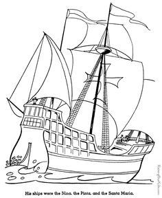 Christopher Columbus coloring page - Nina, Pinta and Santa Maria