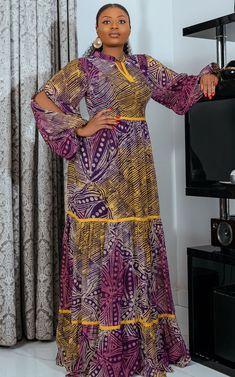 Latest African Fashion Dresses, African Dresses For Women, African Print Fashion, African Attire, African Print Dress Designs, Chiffon Fabric, Cotton Fabric, Kebaya, Fitted Bodice