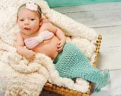 Baby mermaid photo prop- Newborn- 4 piece set-Made to order. $48.00, via Etsy.