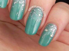 Glitter gradient with @picturepolish Jade and @shimmerpolish Alice | Squeaky Nails http://www.squeakynails.com/2015/01/alice-jade.html