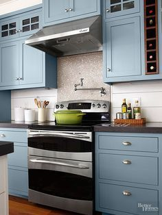 Paint Color:Valspar Paint, Blue Twilight 5001-1C.  My favorite paint color...on cabinets?!?!