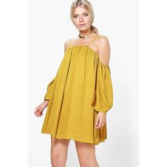 Boohoo Ju Angel Sleeved Pleated Crinkle Swing Dress (47 BRL) ❤ liked on Polyvore featuring dresses, chartreuse, bodycon dress, cotton camisole, bodycon maxi dresses, party maxi dresses and sleeve maxi dress