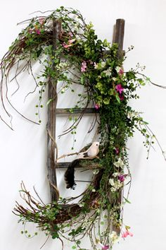 Wildflower Primitive Ladder, Primitive Country Decor ~ idea for a flower design show entry and use fresh greenery and flowers