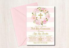 First Communion Invitation, Baptism, printable - DIY, Floral First Communion Invitation