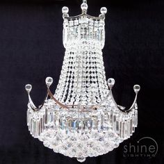 Ella 9L Empire Chandelier Chrome and crystal chandelier.  Ideal for bedroom glamour 9 x 40w SES Lamps (Not Included) Height: 700mm Dia:500mm £1005.60