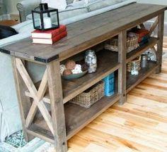 Tavolo consolle in legno massello realizzato con recupero bancali 160x40