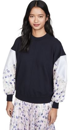 Clu Dolman Sleeve Pullover In Navy Clu, French Terry, World Of Fashion, Floral Prints, Crew Neck, Pullover, Navy, Long Sleeve, Fabric