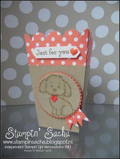 Stampin' Sacha - Stampin' Up! - Annual Catalogue 2016-2017 - Bella & Friends - Popcorn Box Thinlits - Layering Circles Framelits - Subtles DSP - Crumb Cake - Calypso Coral - Just for You - #stampin_sacha - #stampinup