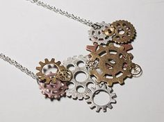 DIY Steampunk Gears Necklace  drop a few crystal dangles, some mixed metal chain...