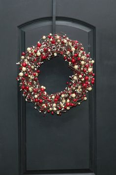 Christmas Wreath  Red and White Wreath  $55