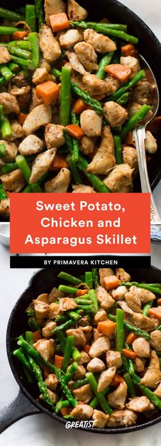 Sweet Potato Chicken and Asparagus Skillet