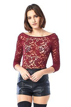 c2e490c4ee0d9 Floral Crochet Mesh Bodysuit